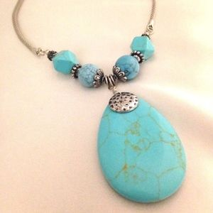 NEW Designer Necklace Turquoise Stone Statement